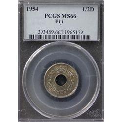 Fiji Halfpenny 1954 PCGS MS66