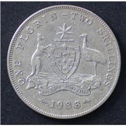1933 Florin VG/Fine Scarce Date