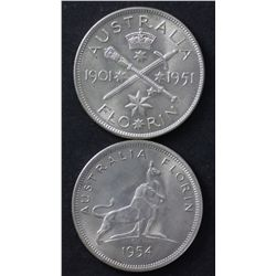1951 Jubilee & 1954 Royal Visit Florins Choice Uncirculated