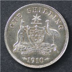 1910 Shilling, Uncirculated, lightly cleaned