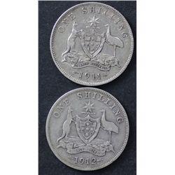 1911 Shilling Fine, 1912 Shilling VG
