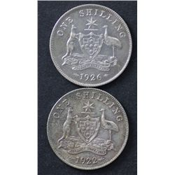 1922 & 1926 Shilling Good VF