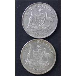 1934 Shilling Very Fine, 1935 Shilling Extremely Fine