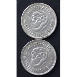 1940 & 1941 Shillings Nearly Uncirculated