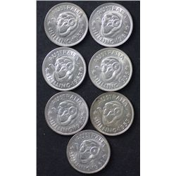 Shillings 1953, 1958, 1959, 1961, 1962, 1963 Gem Unirculated