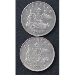 1914 & 1917 Sixpences VF