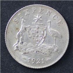 1921 Sixpence Good EF, nice original coin