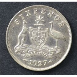 1927 Sixpence Extremely Fine
