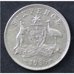 1936 Sixpence Extremely Fine