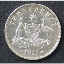 1911 Threepence Extremely Fine