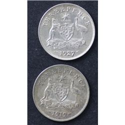 1919 & 1927 Threepences , Extremely Fine