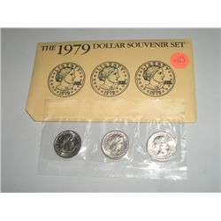 1979 3 DOLLAR SET SUSAN B ANTHONY P,D & S IN ORIGINAL MINT PACKAGE!! SET  CAME OUT OF SAFE BOX!!