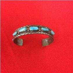Vintage Sterling & Turquoise Cuff Bracelet (Zuni)