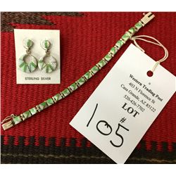 Channel Inlay Link Bracelet and Earrings