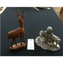Oryx and Wolf Statue Lot
