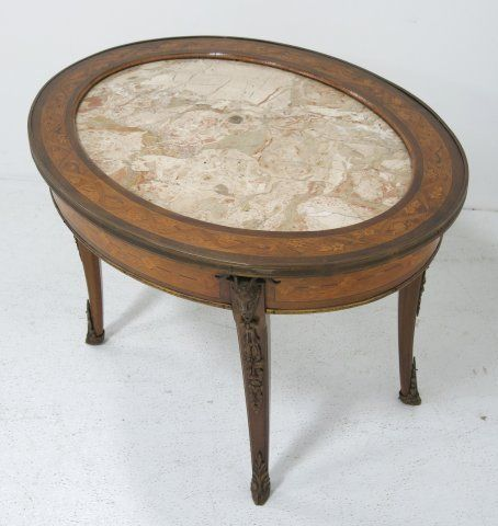 French Oval Marble Top Coffee Table