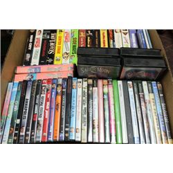 BOX OF VHS AND DVDS