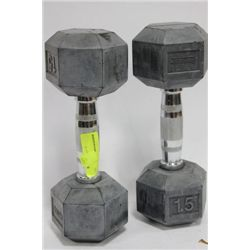 PAIR OF 15 LB DUMBELLS