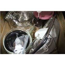 BOX OF BAKING ACCESSORIES..BAKING DISHES,BOWLS,ETC