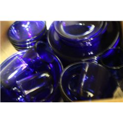 32 PCE BLUE GLASS DISHWARE SET- MADE IN FRANCE