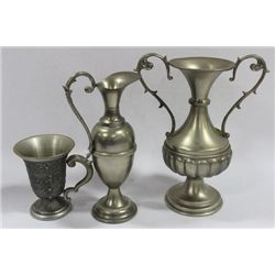 3 PC PEWTER VASE AND CUP SET