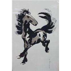 H, KLISCH FRAMED HORSE SILK SCREEN