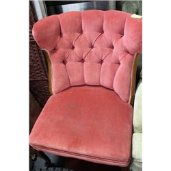 ESTATE PINK FABRIC WING BACK CHAIR