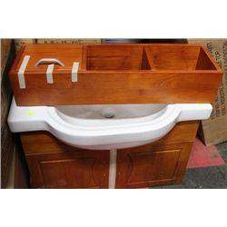 WOOD FLOATING BATHROOM VANITY W MEDICINE CABINET
