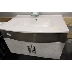 NEW WHITE AND SILVER  FLOATING BATHROOM VANITY