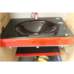 NEW BLACK AND RED GLASS  FLOATING BATHROOM VANITY