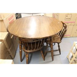 WOOD TABLE W 3 CHAIRS