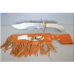 Stag Bison Huner Bowie Knife [ w/ brass hilt & stag handle, c/w heavy leather sheath w/fringe, horn