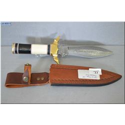 Unknown Maker Warrior CM w/forged Damascus steel 2 sided dagger w/brass hilt, mulit toned material i