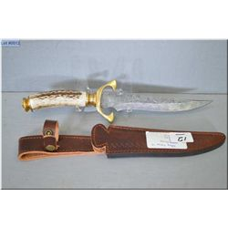 Unknown Maker Warrior CM w/forged Damascus steel blade w/stag & brass handle [ w/custom fit leather