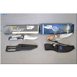 Lot of Two Knives w/sheaths  in orig boxes : Colt Mod CT 327 - Schrade Badger