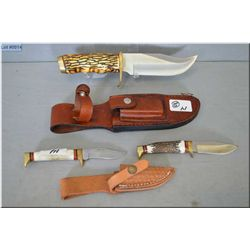 Lot of Two Items : Schrade Mod 171 UH Hunting Knife w/leather sheath [ missing sharpening stone ] -