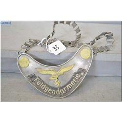 Nazi Luftwaffe Feldgendarmeria  ( Military Police ) Gorget [ makers marked on reverse & dated 1935,