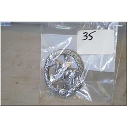 Nazi Sports Badge ( Equisterian ) in silver grade, Maker Marked