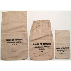 Three Bank of Hawaii bank bags
