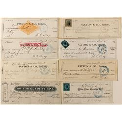 Eureka, Nevada check collection with rare White Pine County Bank