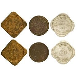 Three Chicago saloon tokens