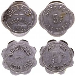 Two Illinois tokens: Belleville and Schram City