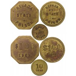 Three Nevada State Prison Tokens