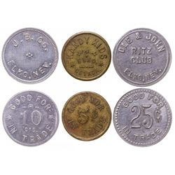 Two Elko tokens: Rex Club and Kandy Kids