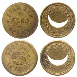 Two Elko tokens: Plunkett and Star Bar