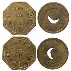 Bank Bar and Bank Club tokens, Fallon
