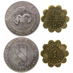 Babbitt, Nevada token and CA-NV Revolution Bicentennial