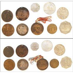 Ohio tokens: Akron, Dayton, Marion, etc.