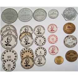 Large lot of Texas tokens including the scout who captured Geronimo