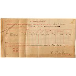 Memorandum of Gold Bullion, San Francisco Mint